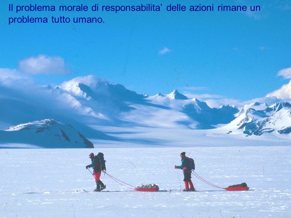 Il problema morale di responsabilita' delle azioni rimane un problema tutto umano.