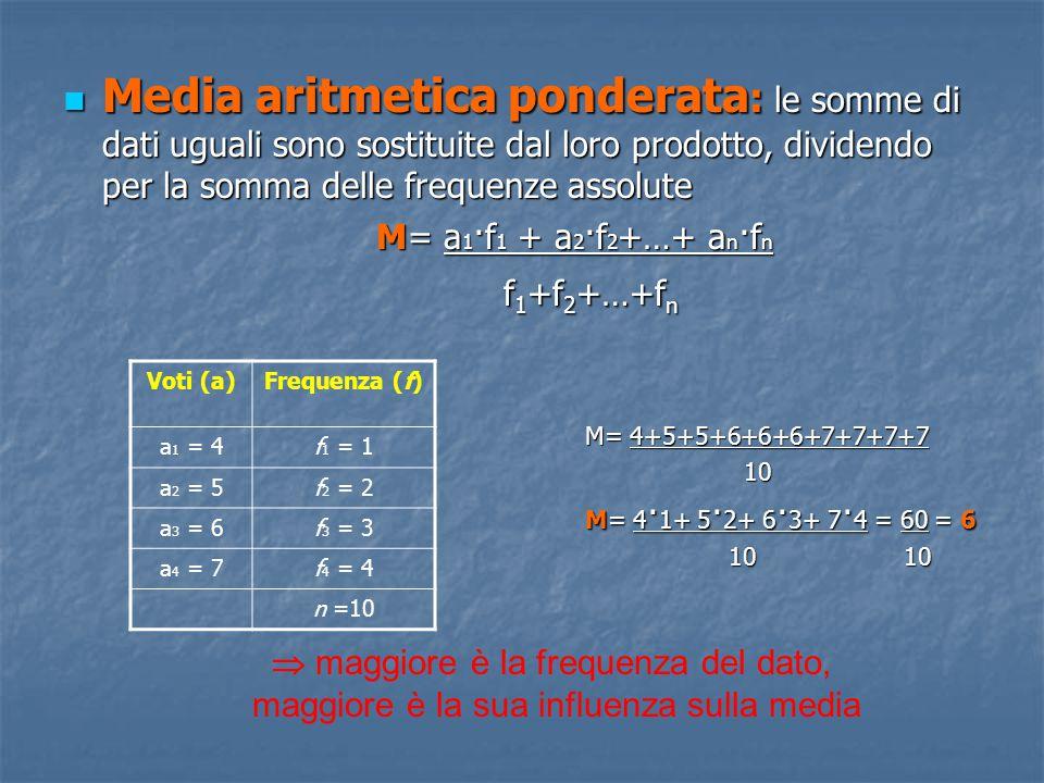 Media aritmetica ponderata : le somme di dati uguali sono sostituite dal loro prodotto, dividendo per la somma delle frequenze assolute Media aritmeti