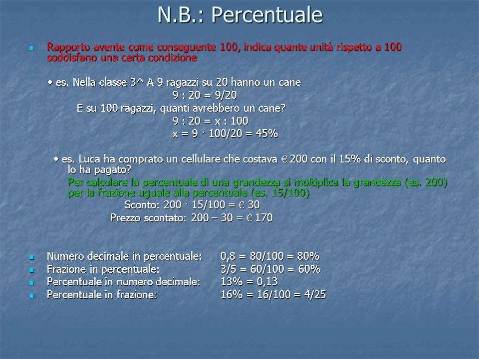 N.B.: Percentuale Rapporto avente come conseguente 100, indica quante unità rispetto a 100 soddisfano una certa condizione Rapporto avente come conseg