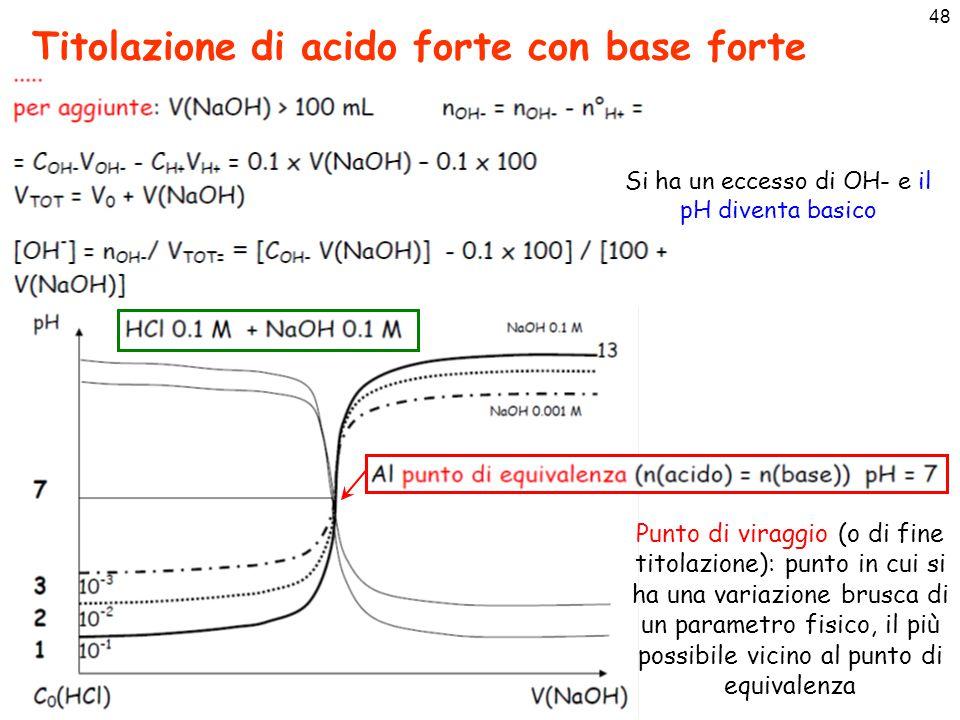 48 Titolazione di acido forte con base forte Si ha un eccesso di OH- e il pH diventa basico Punto di viraggio (o di fine titolazione): punto in cui si