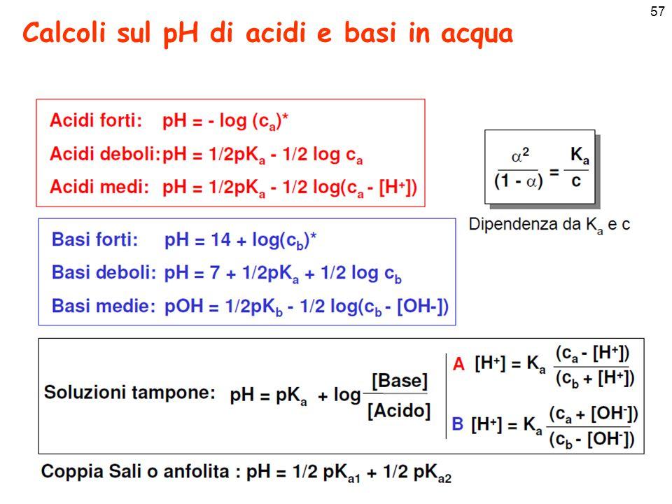57 Calcoli sul pH di acidi e basi in acqua