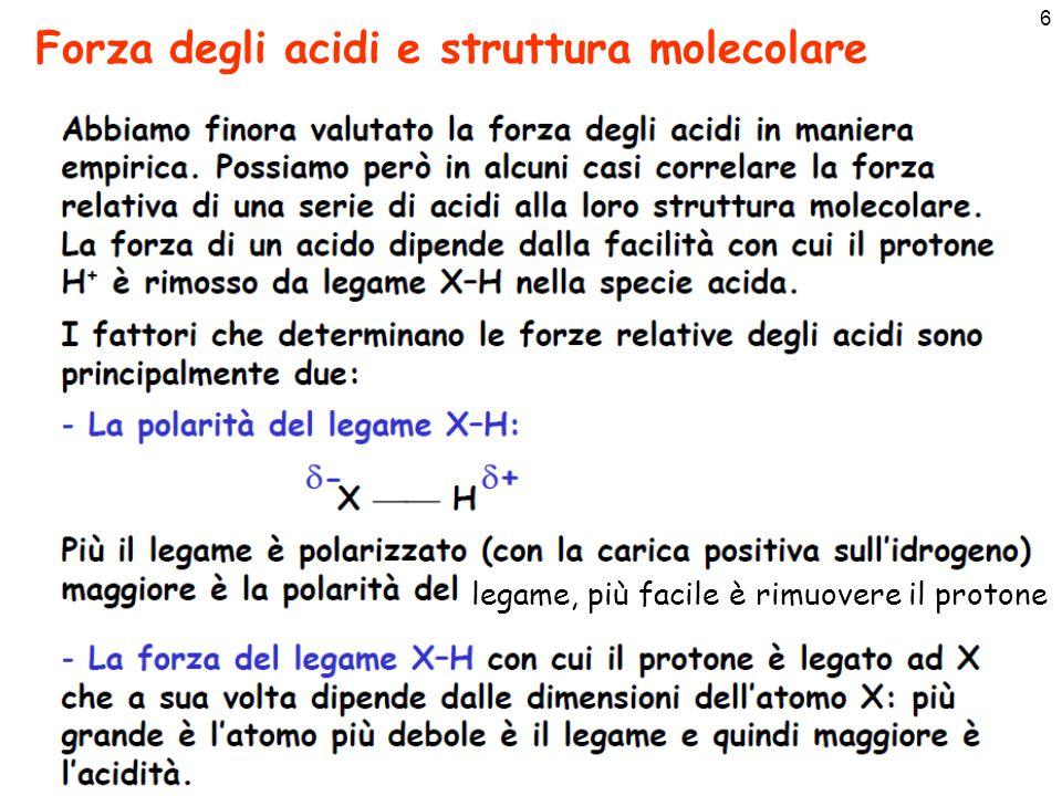 6 Forza degli acidi e struttura molecolare legame, più facile è rimuovere il protone