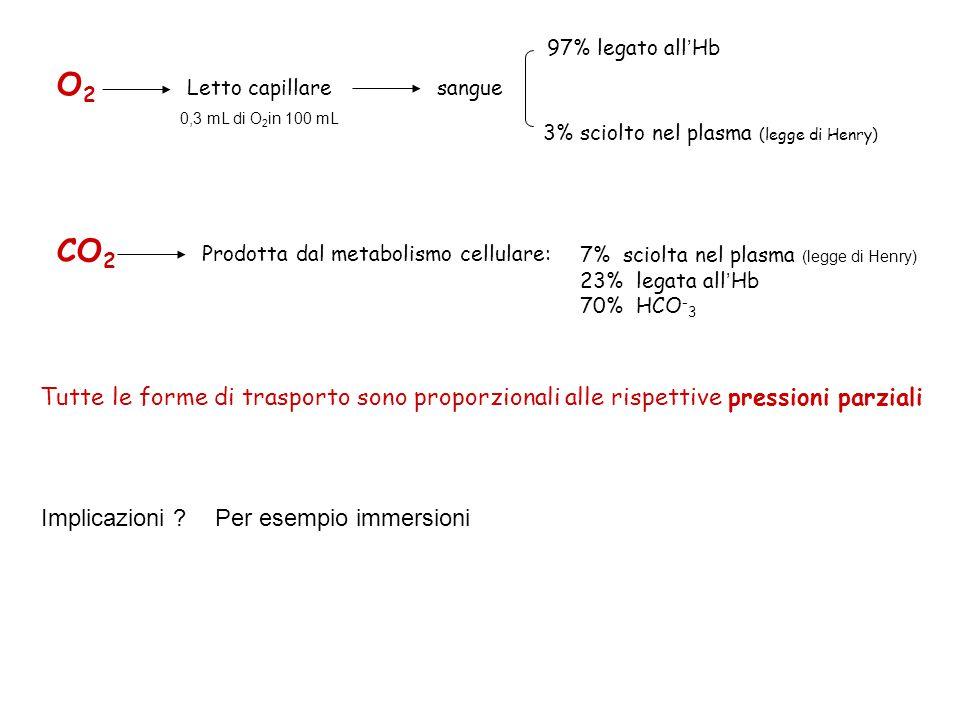 O2O2 Letto capillaresangue 97% legato all ' Hb 3% sciolto nel plasma (legge di Henry) CO 2 Prodotta dal metabolismo cellulare: 7% sciolta nel plasma (