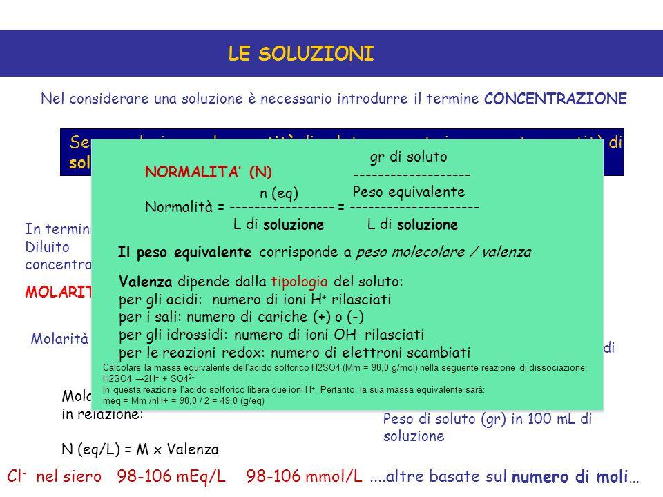 LE SOLUZIONI Nel considerare una soluzione è necessario introdurre il termine CONCENTRAZIONE Serve a designare la quantità di soluto presente in una c