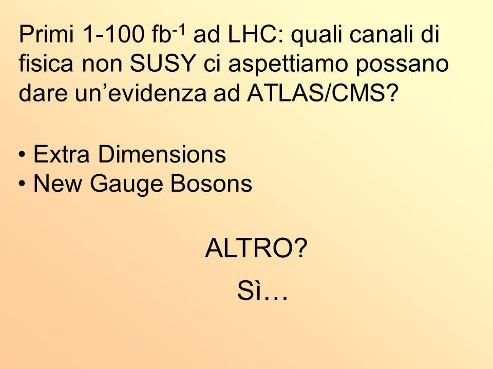 Primi 1-100 fb -1 ad LHC: quali canali di fisica non SUSY ci aspettiamo possano dare un'evidenza ad ATLAS/CMS? Extra Dimensions New Gauge Bosons ALTRO