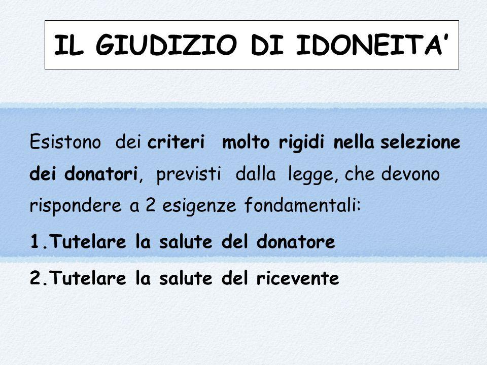 IL GIUDIZIO DI IDONEITA' Esistono dei criteri molto rigidi nella selezione dei donatori, previsti dalla legge, che devono rispondere a 2 esigenze fond