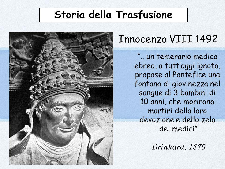 """Innocenzo VIII 1492 """".. un temerario medico ebreo, a tutt'oggi ignoto, propose al Pontefice una fontana di giovinezza nel sangue di 3 bambini di 10 an"""