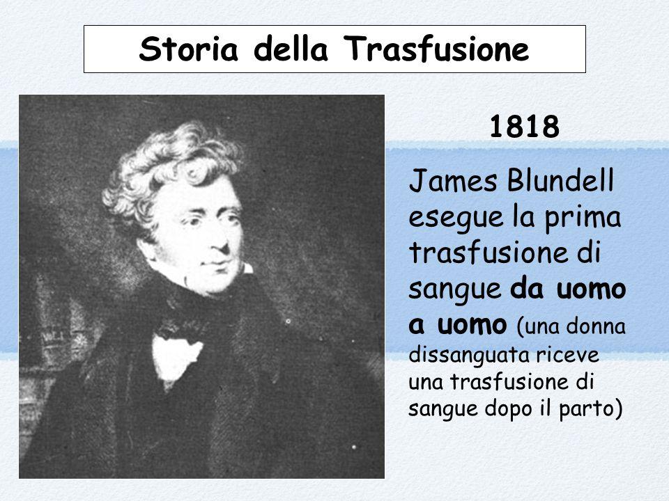 Storia della Trasfusione 1818 James Blundell esegue la prima trasfusione di sangue da uomo a uomo (una donna dissanguata riceve una trasfusione di sangue dopo il parto)