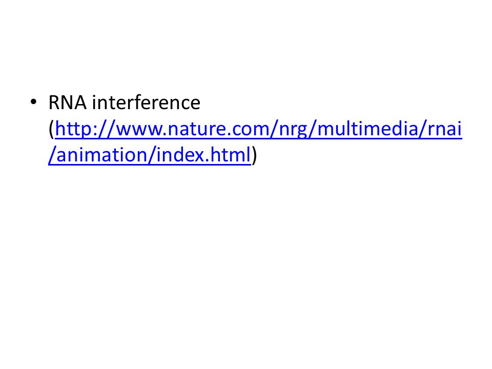RNA interference (http://www.nature.com/nrg/multimedia/rnai /animation/index.html)http://www.nature.com/nrg/multimedia/rnai /animation/index.html