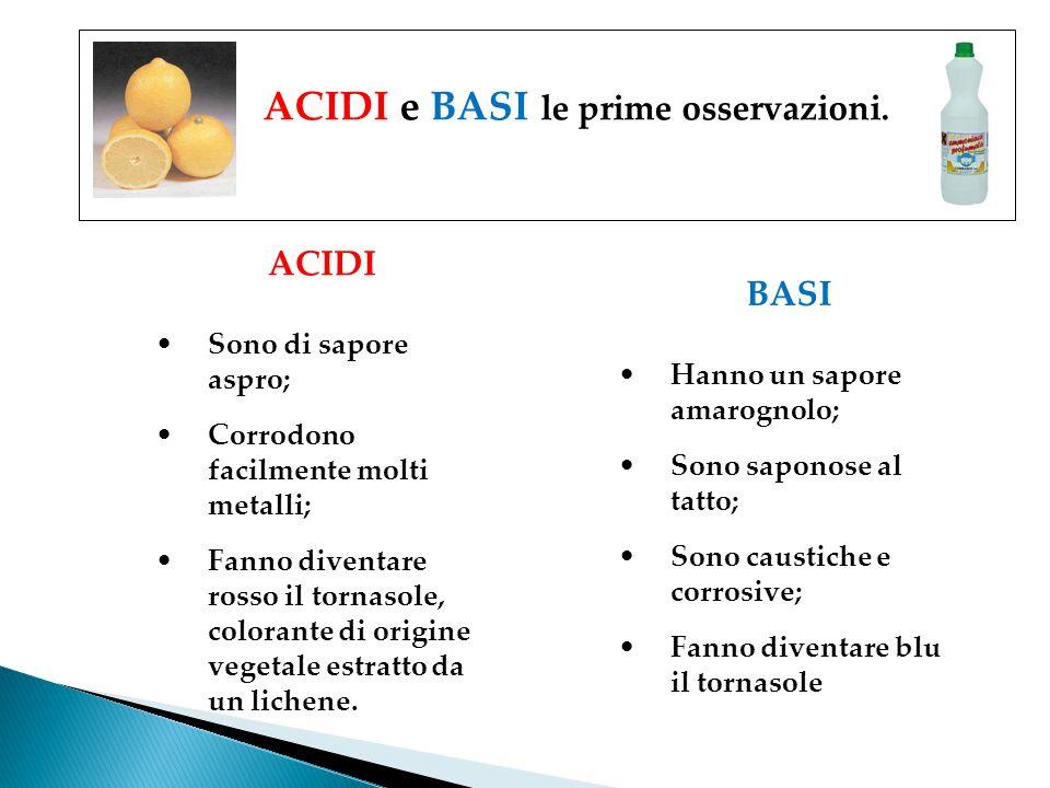 ACIDI e BASI le prime osservazioni. ACIDI Sono di sapore aspro; Corrodono facilmente molti metalli; Fanno diventare rosso il tornasole, colorante di o