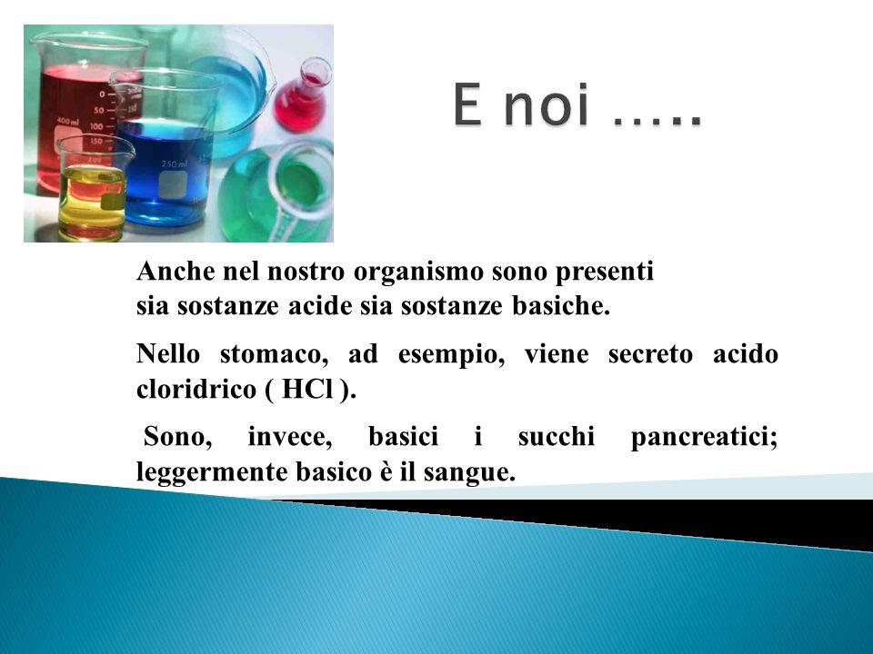 Anche nel nostro organismo sono presenti sia sostanze acide sia sostanze basiche. Nello stomaco, ad esempio, viene secreto acido cloridrico ( HCl ). S