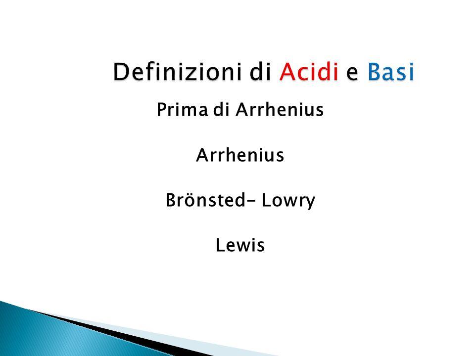 Prima di Arrhenius Arrhenius Brönsted- Lowry Lewis
