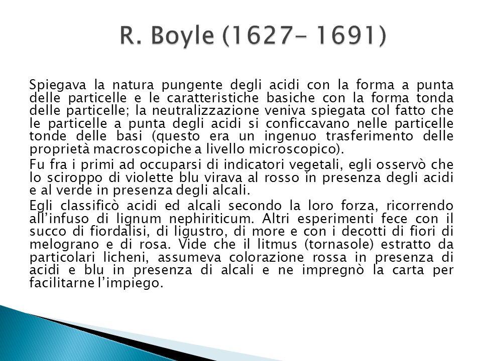 Spiegava la natura pungente degli acidi con la forma a punta delle particelle e le caratteristiche basiche con la forma tonda delle particelle; la neu