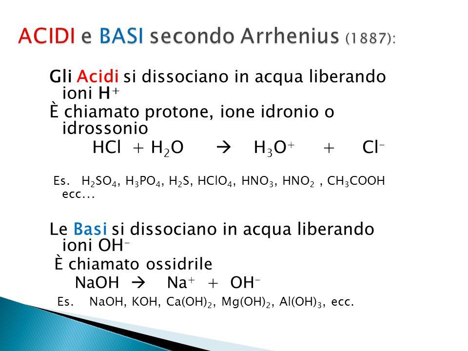 Gli Acidi si dissociano in acqua liberando ioni H + È chiamato protone, ione idronio o idrossonio HCl + H 2 O  H 3 O + + Cl - Es. H 2 SO 4, H 3 PO 4,