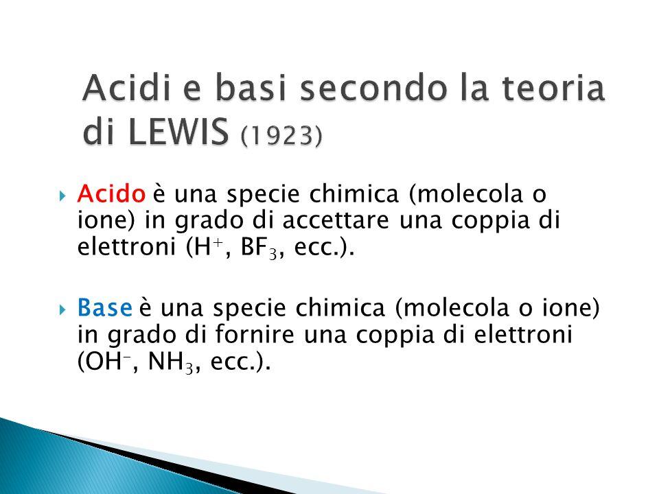  Acido è una specie chimica (molecola o ione) in grado di accettare una coppia di elettroni (H +, BF 3, ecc.).  Base è una specie chimica (molecola