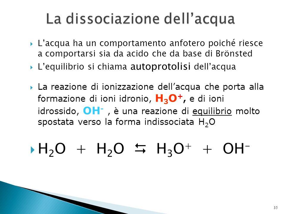  L'acqua ha un comportamento anfotero poiché riesce a comportarsi sia da acido che da base di Brönsted  L'equilibrio si chiama autoprotolisi dell'ac