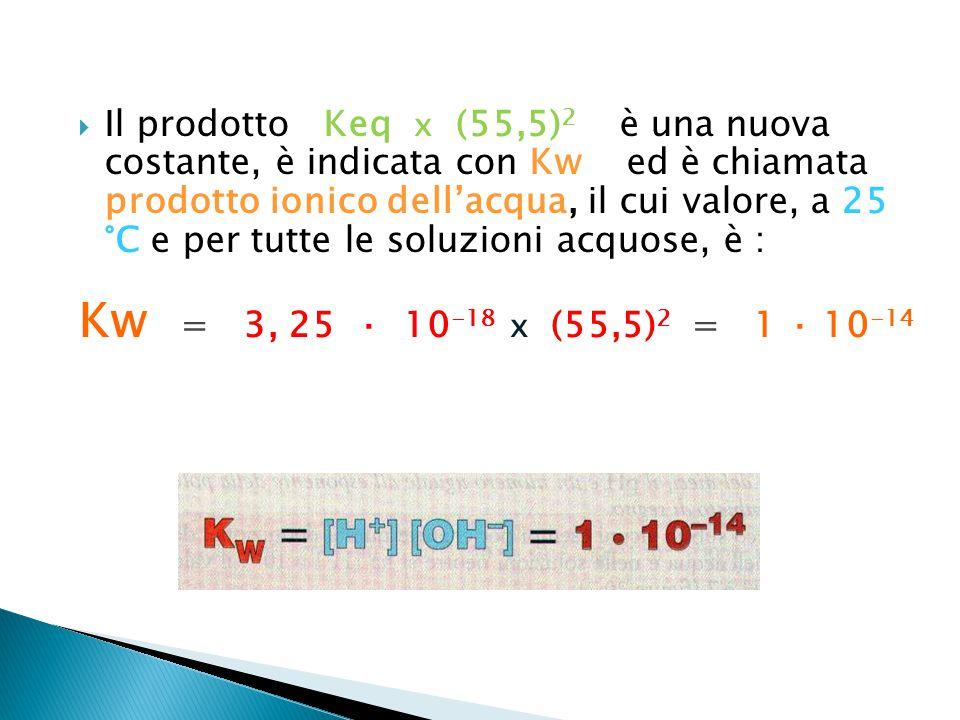  Il prodotto Keq x (55,5) 2 è una nuova costante, è indicata con Kw ed è chiamata prodotto ionico dell'acqua, il cui valore, a 25 °C e per tutte le s
