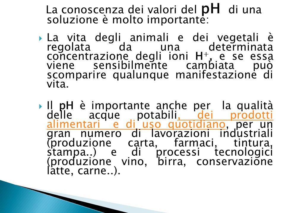 La conoscenza dei valori del pH di una soluzione è molto importante:  La vita degli animali e dei vegetali è regolata da una determinata concentrazio