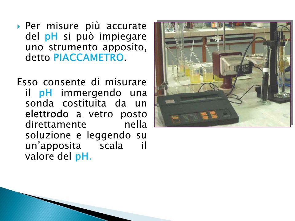  Per misure più accurate del pH si può impiegare uno strumento apposito, detto PIACCAMETRO. Esso consente di misurare il pH immergendo una sonda cost