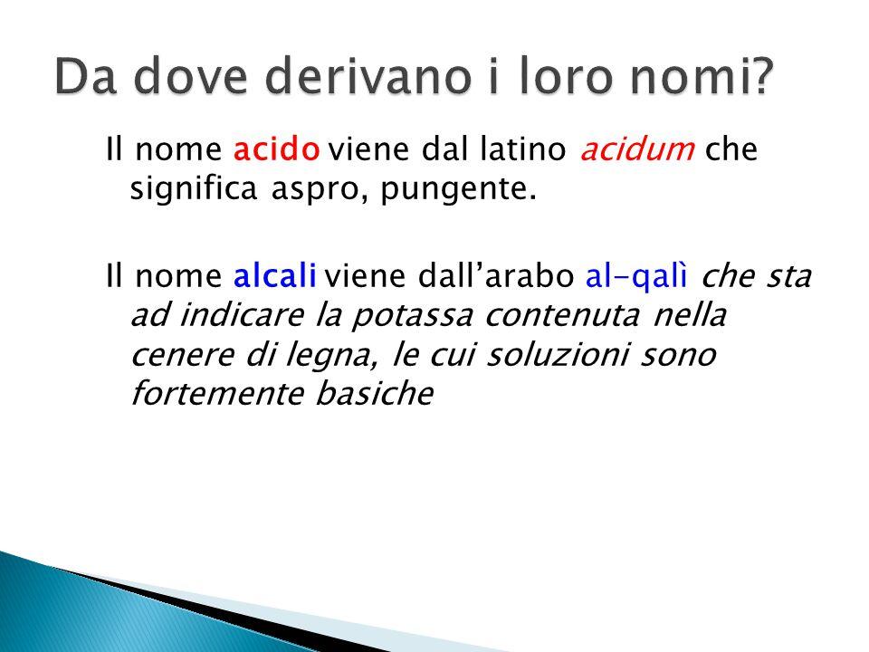 Il nome acido viene dal latino acidum che significa aspro, pungente. Il nome alcali viene dall'arabo al-qalì che sta ad indicare la potassa contenuta