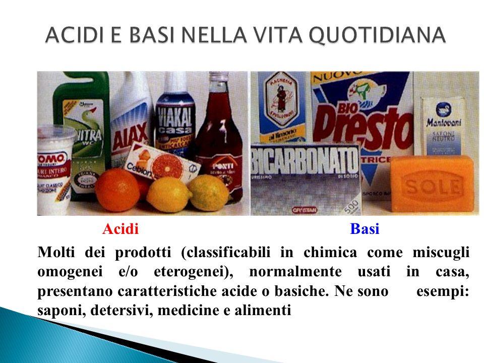 Molti dei prodotti (classificabili in chimica come miscugli omogenei e/o eterogenei), normalmente usati in casa, presentano caratteristiche acide o ba
