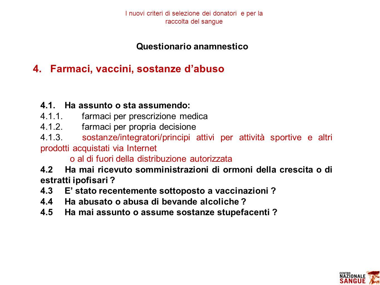Questionario anamnestico 4.Farmaci, vaccini, sostanze d'abuso 4.1.