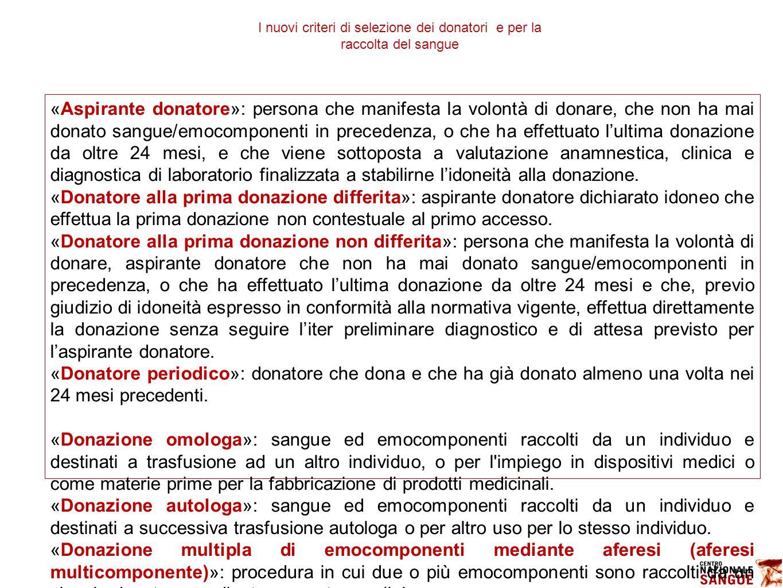 I nuovi criteri di selezione dei donatori e per la raccolta del sangue «Aspirante donatore»: persona che manifesta la volontà di donare, che non ha ma