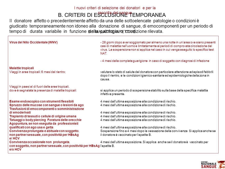 B. CRITERI DI ESCLUSIONE TEMPORANEA Il donatore affetto o precedentemente affetto da una delle sottoelencate patologie o condizioni è giudicato tempor