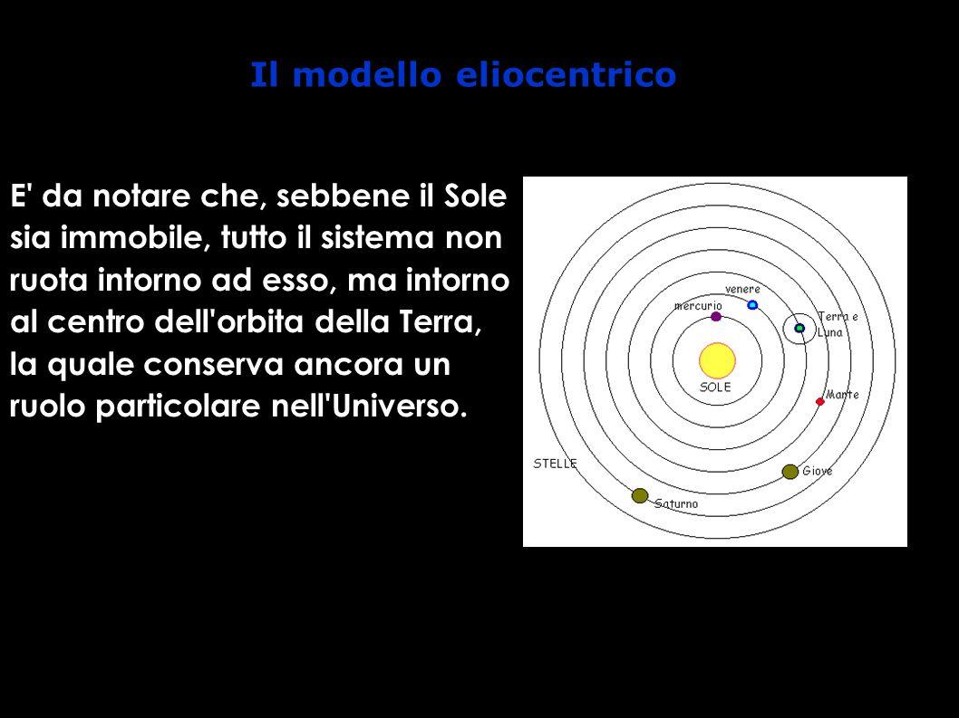 Il modello eliocentrico E da notare che, sebbene il Sole sia immobile, tutto il sistema non ruota intorno ad esso, ma intorno al centro dell orbita della Terra, la quale conserva ancora un ruolo particolare nell Universo.