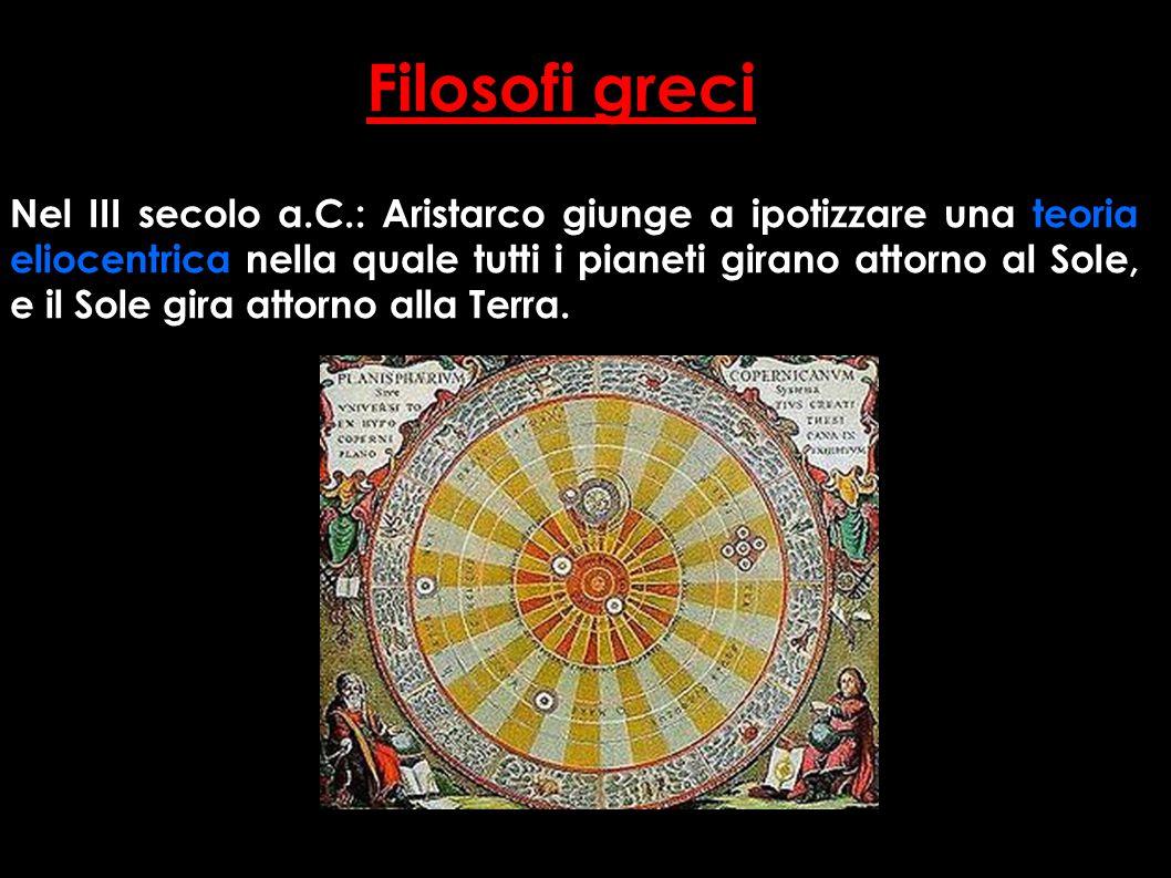 Nel III secolo a.C.: Aristarco giunge a ipotizzare una teoria eliocentrica nella quale tutti i pianeti girano attorno al Sole, e il Sole gira attorno alla Terra.