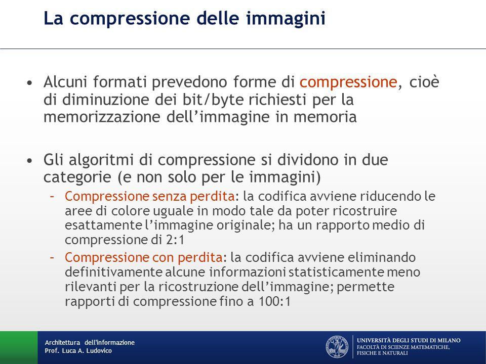 Alcuni formati prevedono forme di compressione, cioè di diminuzione dei bit/byte richiesti per la memorizzazione dell'immagine in memoria Gli algoritmi di compressione si dividono in due categorie (e non solo per le immagini) –Compressione senza perdita: la codifica avviene riducendo le aree di colore uguale in modo tale da poter ricostruire esattamente l'immagine originale; ha un rapporto medio di compressione di 2:1 –Compressione con perdita: la codifica avviene eliminando definitivamente alcune informazioni statisticamente meno rilevanti per la ricostruzione dell'immagine; permette rapporti di compressione fino a 100:1 La compressione delle immagini Architettura dell informazione Prof.