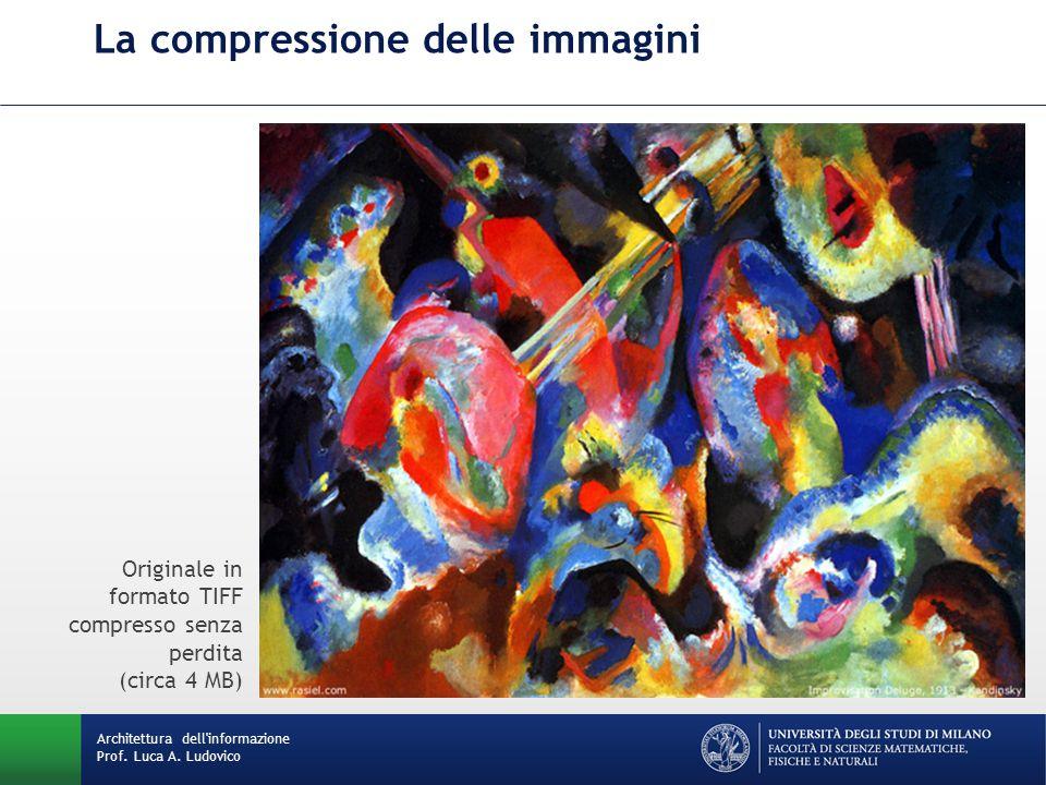 La compressione delle immagini Originale in formato TIFF compresso senza perdita (circa 4 MB) Architettura dell informazione Prof.