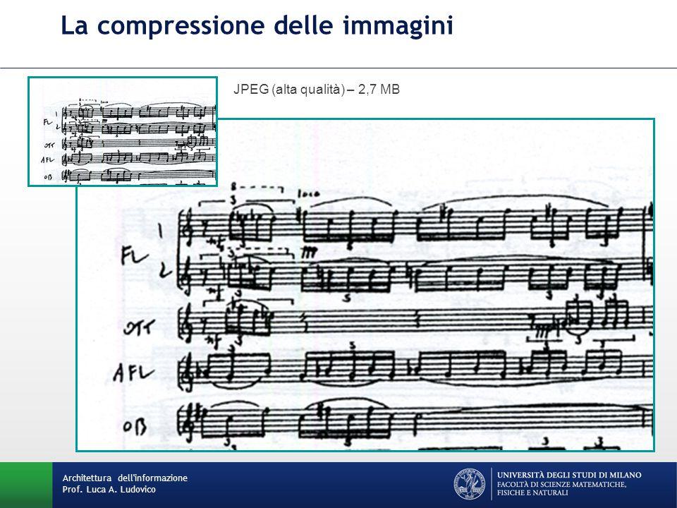 La compressione delle immagini JPEG (alta qualità) – 2,7 MB Architettura dell informazione Prof.