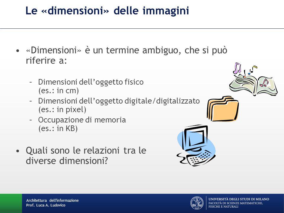 «Dimensioni» è un termine ambiguo, che si può riferire a: –Dimensioni dell'oggetto fisico (es.: in cm) –Dimensioni dell'oggetto digitale/digitalizzato (es.: in pixel) –Occupazione di memoria (es.: in KB) Quali sono le relazioni tra le diverse dimensioni.