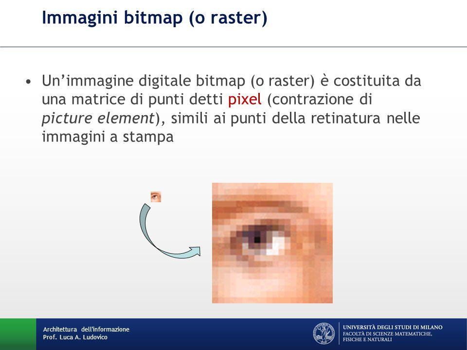 Immagini bitmap (o raster) Un'immagine digitale bitmap (o raster) è costituita da una matrice di punti detti pixel (contrazione di picture element), simili ai punti della retinatura nelle immagini a stampa Architettura dell informazione Prof.