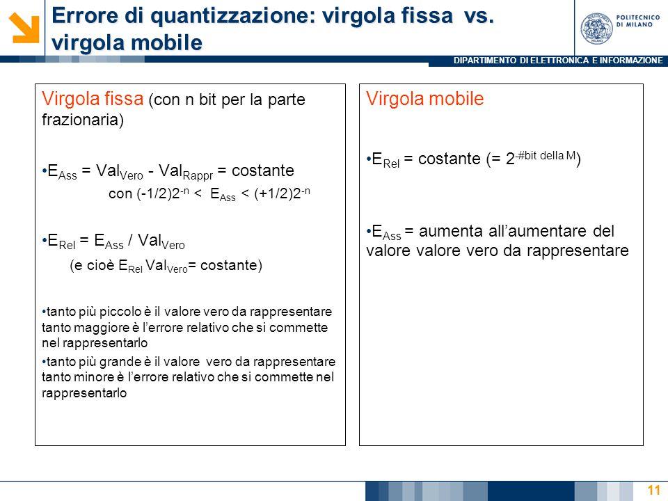 DIPARTIMENTO DI ELETTRONICA E INFORMAZIONE Errore di quantizzazione: virgola fissa vs. virgola mobile Virgola fissa (con n bit per la parte frazionari