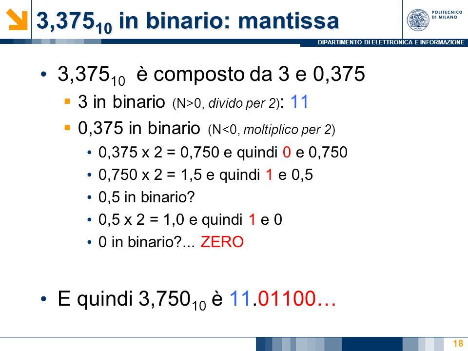 DIPARTIMENTO DI ELETTRONICA E INFORMAZIONE 3,375 10 in binario: mantissa 3,375 10 è composto da 3 e 0,375  3 in binario (N>0, divido per 2) : 11  0,