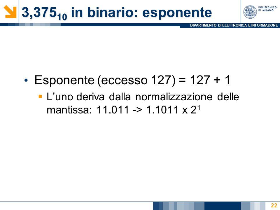 DIPARTIMENTO DI ELETTRONICA E INFORMAZIONE 3,375 10 in binario: esponente Esponente (eccesso 127) = 127 + 1  L'uno deriva dalla normalizzazione delle