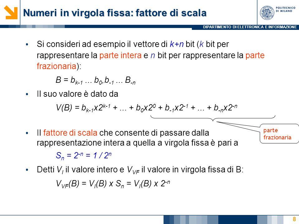 DIPARTIMENTO DI ELETTRONICA E INFORMAZIONE Numeri in virgola fissa: fattore di scala Si consideri ad esempio il vettore di k+n bit (k bit per rapprese