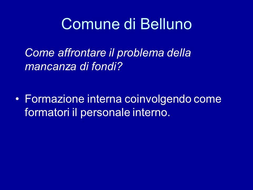 Comune di Belluno Come affrontare il problema della mancanza di fondi? Formazione interna coinvolgendo come formatori il personale interno.