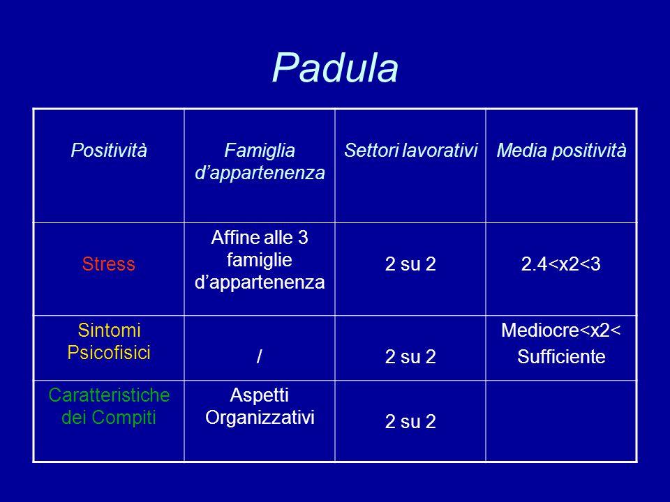 Padula PositivitàFamiglia d'appartenenza Settori lavorativiMedia positività Stress Affine alle 3 famiglie d'appartenenza 2 su 22.4<x2<3 Sintomi Psicof