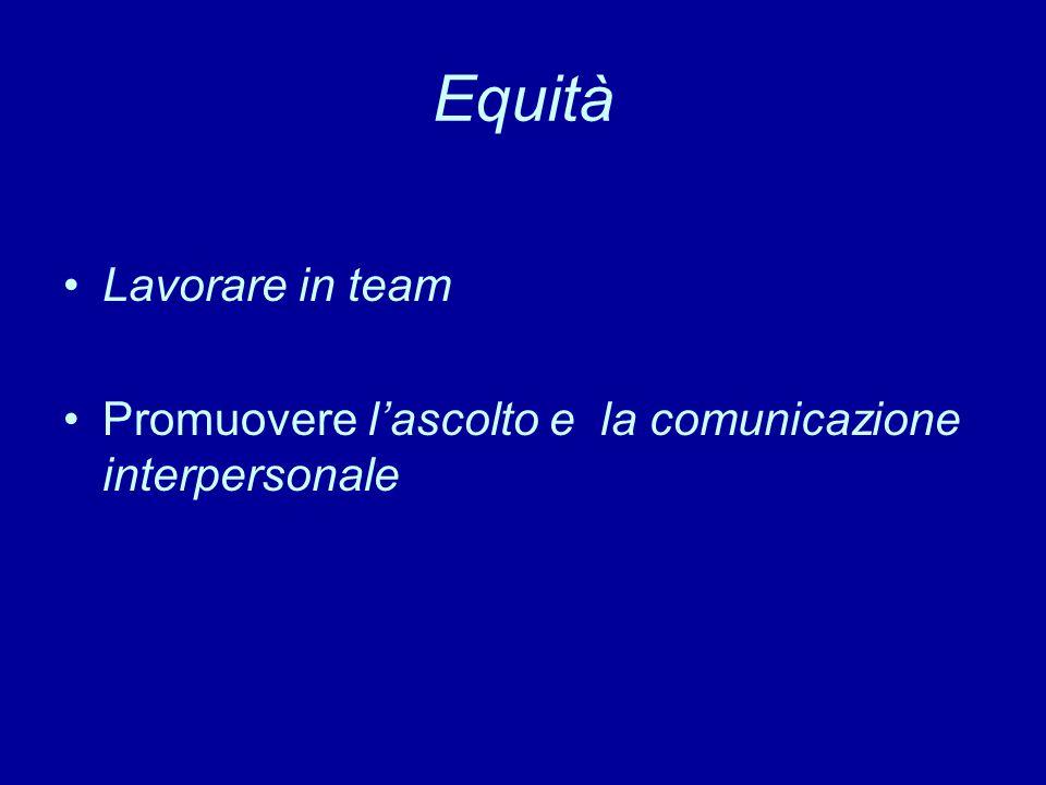 Equità Lavorare in team Promuovere l'ascolto e la comunicazione interpersonale