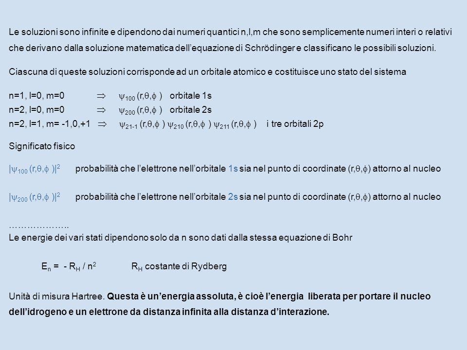 Le soluzioni sono infinite e dipendono dai numeri quantici n,l,m che sono semplicemente numeri interi o relativi che derivano dalla soluzione matematica dell'equazione di Schrödinger e classificano le possibili soluzioni.