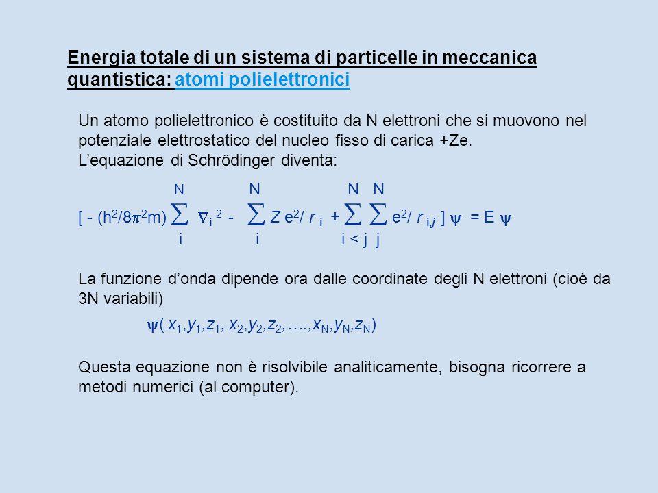 Energia totale di un sistema di particelle in meccanica quantistica: atomi polielettronici Un atomo polielettronico è costituito da N elettroni che si muovono nel potenziale elettrostatico del nucleo fisso di carica +Ze.