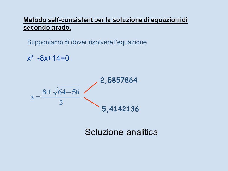 Metodo self-consistent per la soluzione di equazioni di secondo grado. Supponiamo di dover risolvere l'equazione x 2 -8x+14=0 Soluzione analitica 2,58