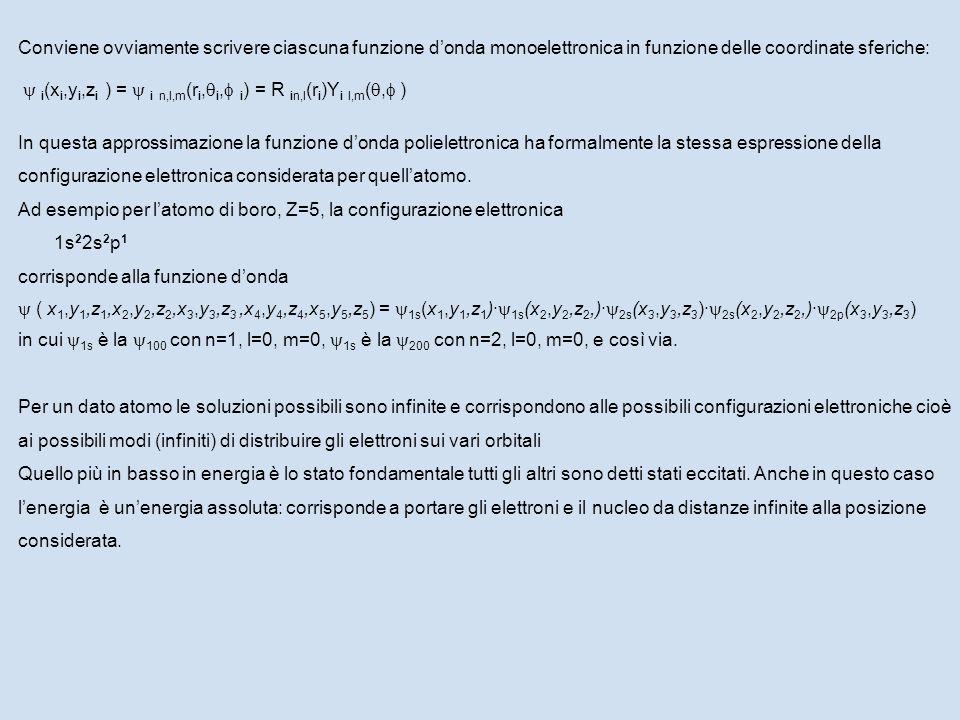 Conviene ovviamente scrivere ciascuna funzione d'onda monoelettronica in funzione delle coordinate sferiche:  i (x i,y i,z i ) =  i n,l,m (r i,  i,