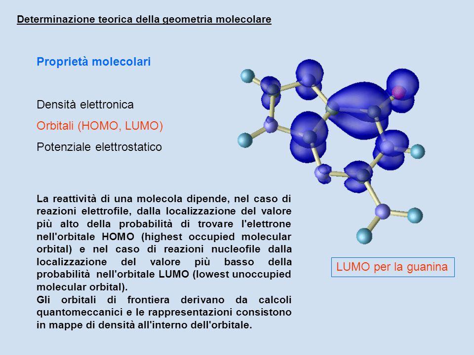 Proprietà molecolari Densità elettronica Orbitali (HOMO, LUMO) Potenziale elettrostatico Determinazione teorica della geometria molecolare LUMO per la