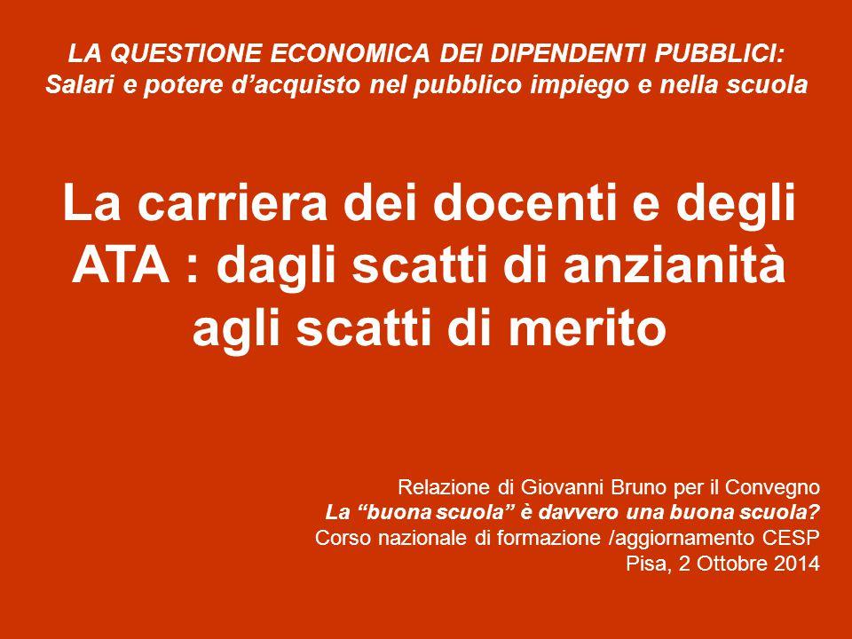 La perdita del potere d'acquisto L'ISTAT evidenzia che il settore pubblico nel 1999 si registrava un differenziale negativo di crescita per le Amministrazioni pubbliche di circa 15 punti percentuali rispetto al 1990.
