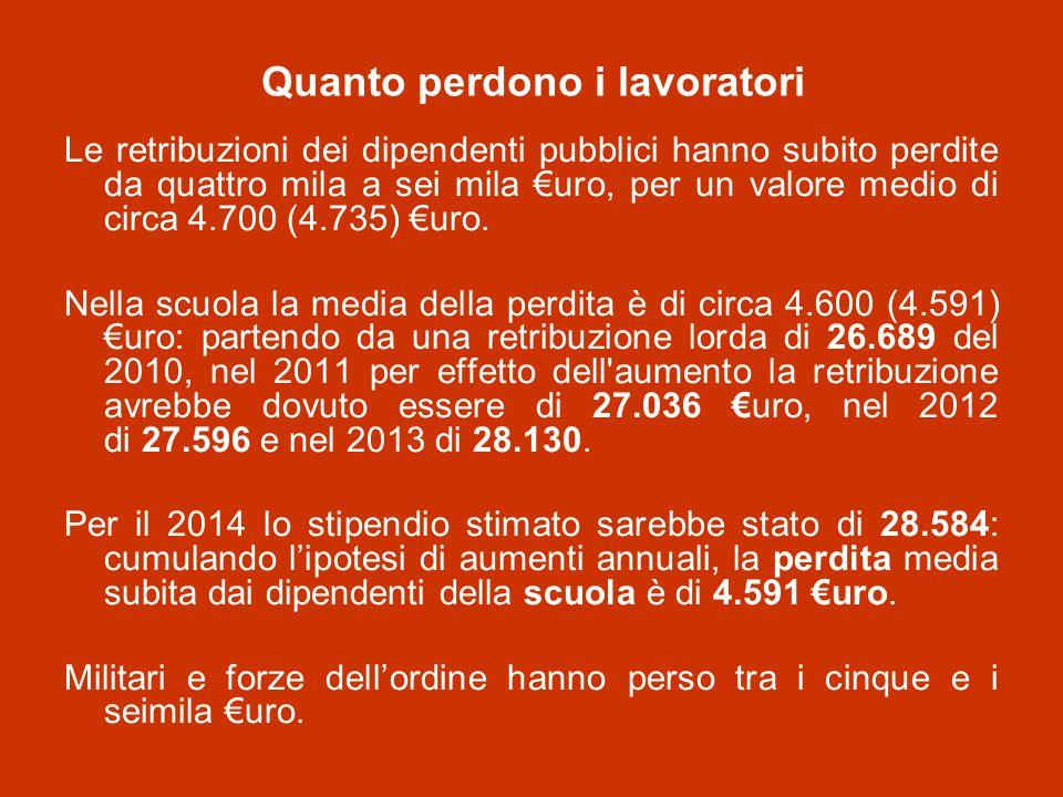 Quanto perdono i lavoratori Le retribuzioni dei dipendenti pubblici hanno subito perdite da quattro mila a sei mila €uro, per un valore medio di circa 4.700 (4.735) €uro.