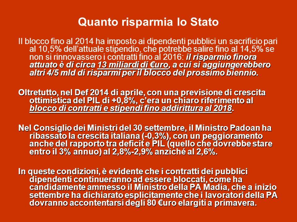 Quanto risparmia lo Stato il risparmio finora attuato è di circa 13 miliardi di €uro, a cui si aggiungerebbero altri 4/5 mld di risparmi per il blocco del prossimo biennio.